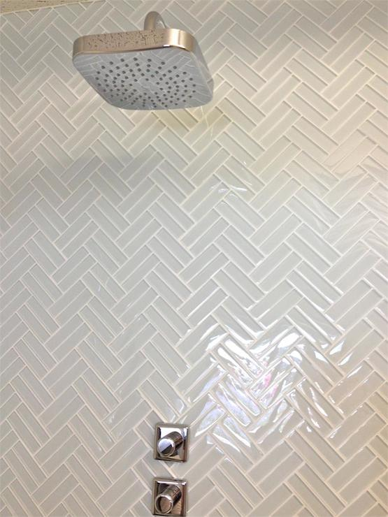 Fabulous Shower With White Glass Herringbone Tile Shower Surround Mod