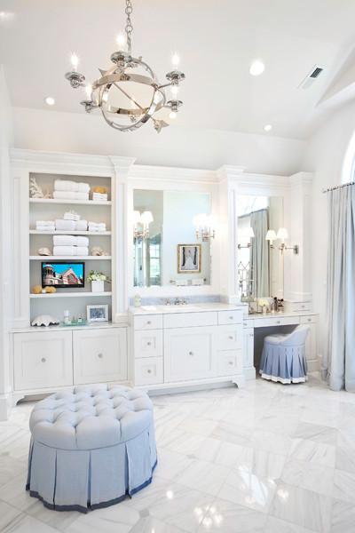 Built In Makeup Vanity Transitional Bathroom Markay