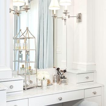 Built In Makeup Vanity Transitional Bathroom Markay