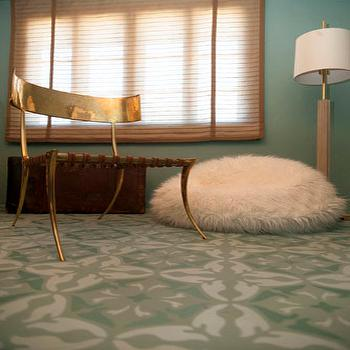 Turquoise Mosaic Floor, Eclectic, den/library/office, Dunn Edwards Barrier Reef, Copper Gyer Design