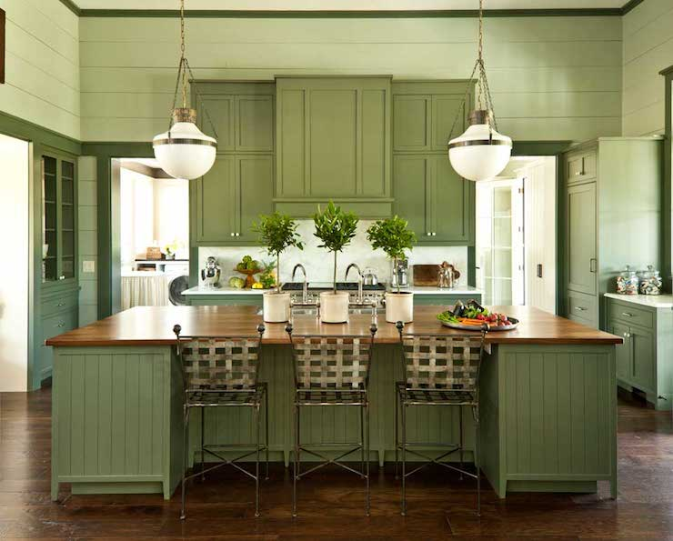 Green island pendant design ideas for Brushed sage kitchen cabinets