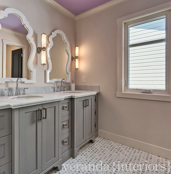Purple ceiling transitional bathroom veranda interiors for Bathroom ideas grey vanity