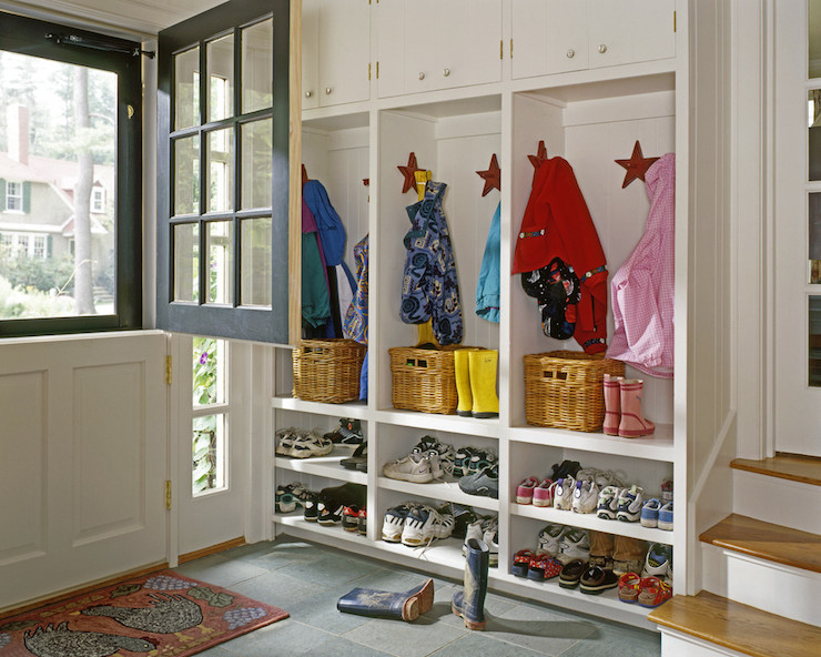 Mudroom with dutch door traditional laundry room whitten architects - Front entry storage ideas ...