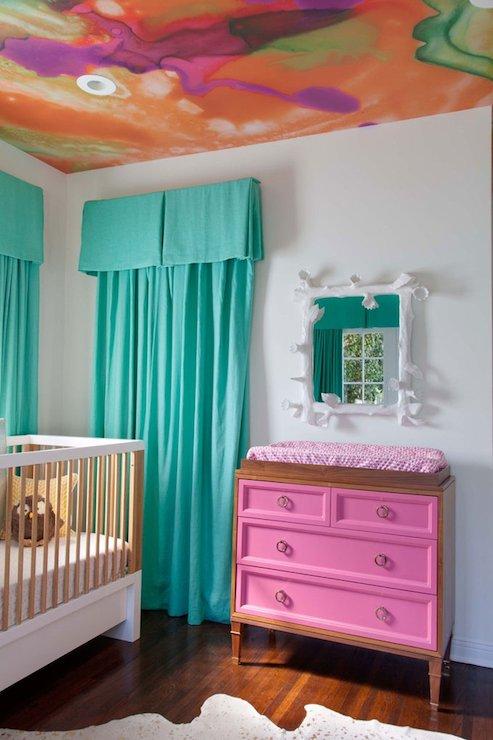 Teal Drapes Eclectic Nursery Copper Gyer Design