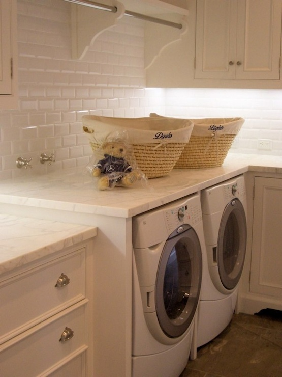 Beveled Subway Tiles Traditional Laundry Room