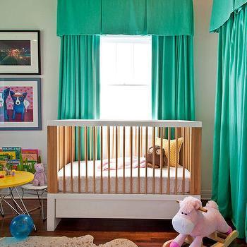 Teal Valance, Eclectic, nursery, Copper Gyer Design