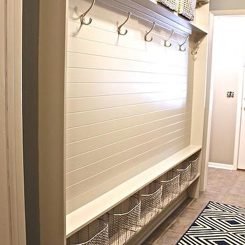 Mudroom Paneling, Transitional, laundry room, Sherwin Williams Mindful Gray, The Creativity Exchange