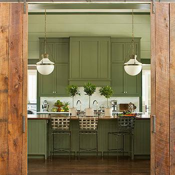 Kitchen with Barn Doors, Cottage, kitchen, Sherwin Williams Pewter Green, Southern Living