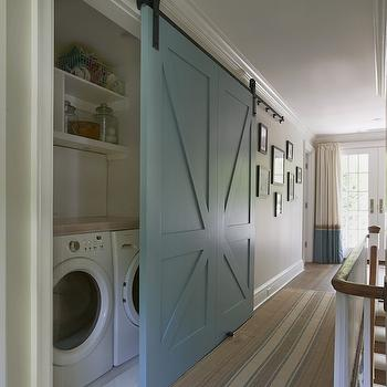 Landry Room with Barn Door, Cottage, laundry room, Brooks & Falotico