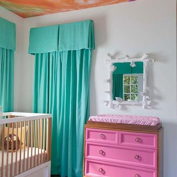 Teal Drapes, Eclectic, nursery, Copper Gyer Design