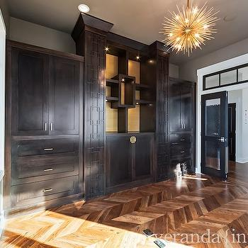 Wood Herringbone Floor, Contemporary, den/library/office, Veranda Interiors