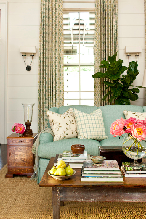 Turquoise blue sofa cottage living room sherwin - Southern living living room photos ...