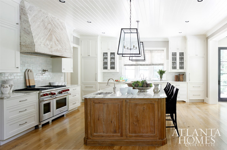 Whitewashed Kitchen Hood Cottage Kitchen Atlanta