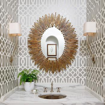 Gray Trellis Wallpaper, Contemporary, bathroom, Atlanta Homes & Lifestyles