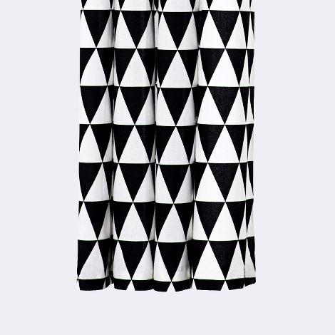Black Triangle White Shower Curtain