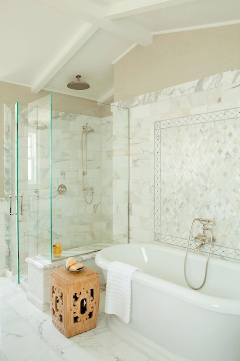 Calcutta Gold Marble Tiles Transitional Bathroom