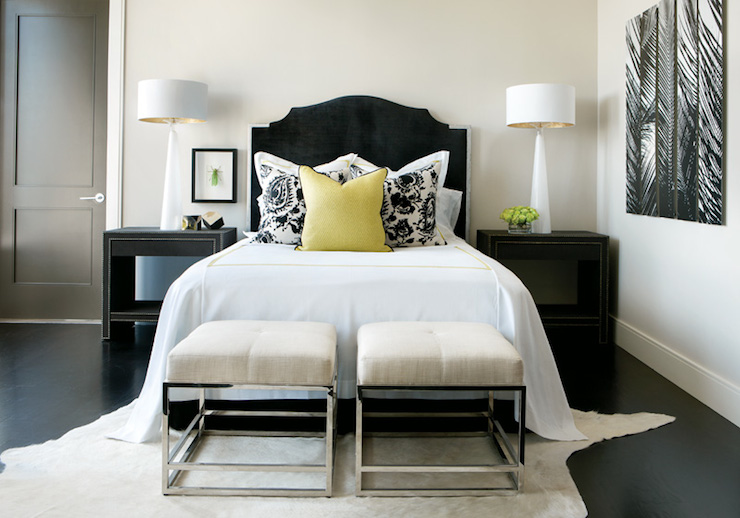white and black bedroom - contemporary - bedroom - atlanta homes Matching Black Nightstands