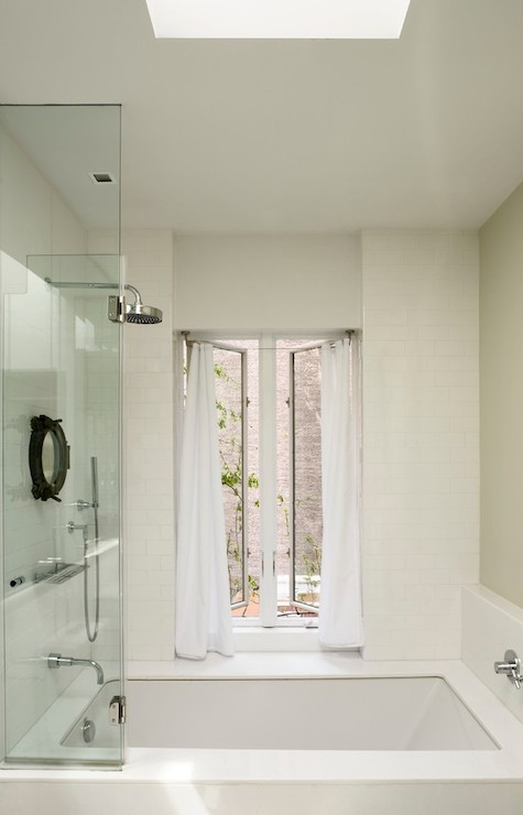 Shower skylight transitional bathroom james wagman Shower tub combo with window