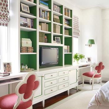 Painted Backs of Shelves, Transitional, den/library/office, James Wagman Architect