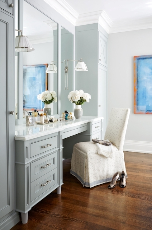 Makeup vanity transitional bathroom anne hepfer designs for Bathroom designs with dressing area