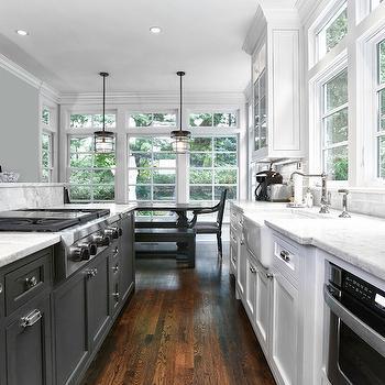 White Galley Kitchen black and white long galley kitchen design ideas