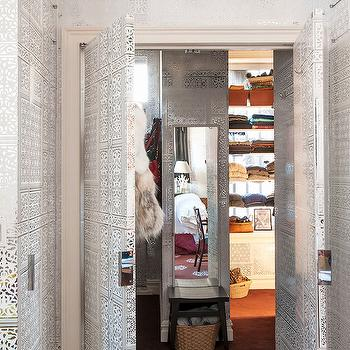 Black and White Metallic Wallpaper, Eclectic, closet, Closette