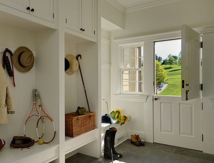 Mudroom dutch door cottage laundry room crisp architects for Mudroom floor ideas