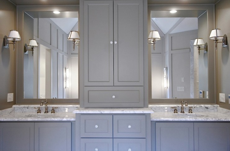 Gray cabinets contemporary bathroom benjamin moore gettysburg gray fitzgerald construction Bathroom cabinets gray