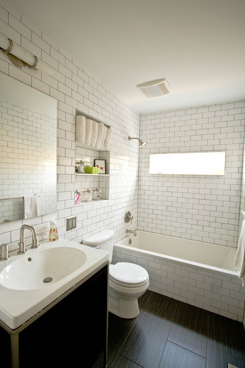 Bathroom subway tiles contemporary bathroom - White subway tile with black grout bathroom ...