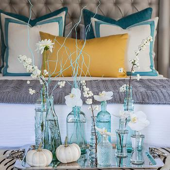 Turquoise Blue Bottles, Contemporary, bedroom, Beach Glass Interior Designs
