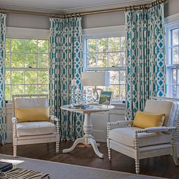 Turquoise Curtains, Contemporary, bedroom, Beach Glass Interior Designs