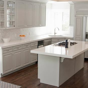 Cambria Torquay Countertops, Transitional, kitchen, Sherwin Williams Gray Clouds, White & Gold Design