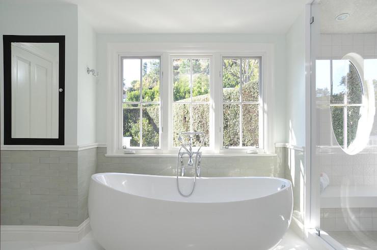 Modern Freestanding Bathtub Transitional Bathroom
