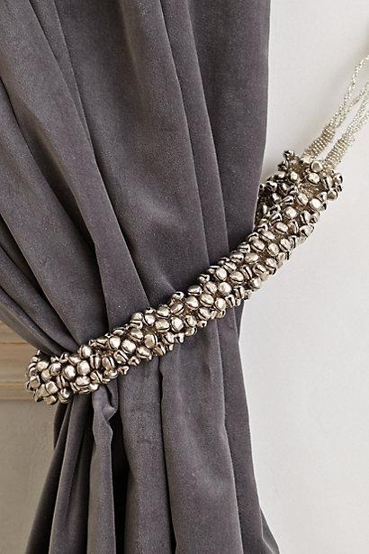 Silver Shimmer Bells Curtain Tieback