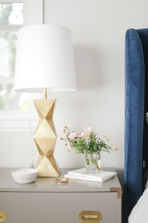 Gold Table Lamp Vintage Bedroom Sherwin Williams Gauntlet Gray