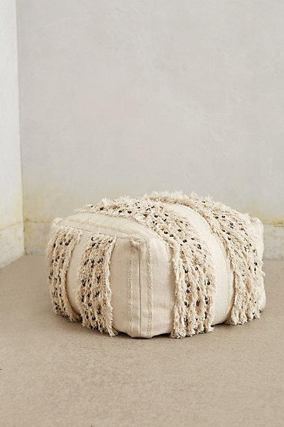 Glacial Moroccan Fringe Ivory Square Pouf