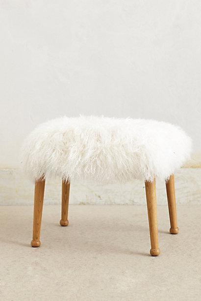 White Luxe Fur Stool
