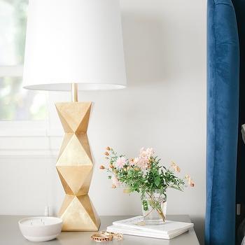 Gold Table Lamp, Vintage, bedroom, Sherwin Williams Gauntlet Gray, Emily Henderson