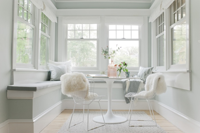 dining nook transitional dining room sherwin williams sea salt emily henderson. Black Bedroom Furniture Sets. Home Design Ideas