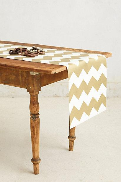 Gilt Gold And White Chevron Paper Table Runner