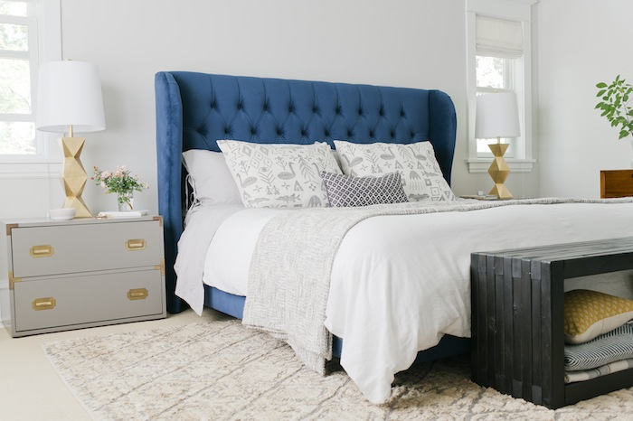 Navy Blue Bedside Table: Gray Velvet Tufted Bed