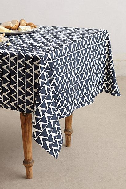 At An Angle Geometric Triangle Navy Tablecloth