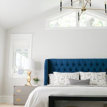 Blue and Gray Bedroom, Vintage, bedroom, Sherwin Williams Crushed Ice, Emily Henderson