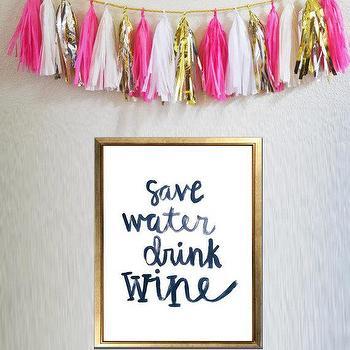 Save Water Drink Wine 8 5 X 11 Bar Cart Print Evelynhenson