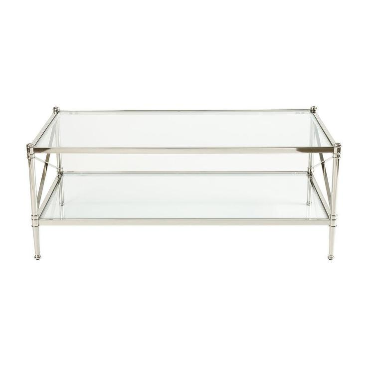 Traditional Coffee Tables Ethan Allen: Jocelyn Nickel And Glass X Sides Coffee Table