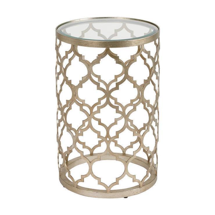 Tracery Quatrefoil Moroccan Silver Accent Table