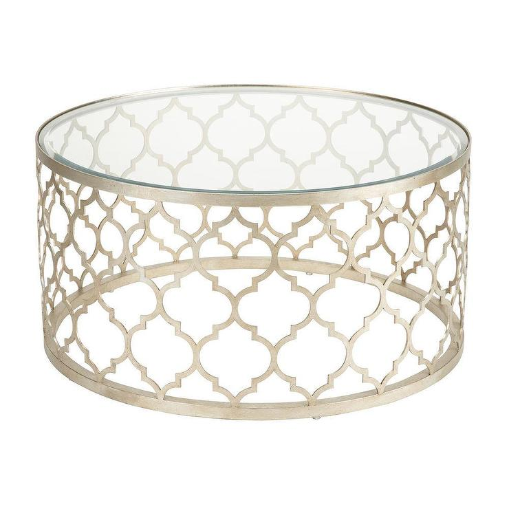 Tracery Silver Moroccan Quatrefoil Glass Top Coffee Table