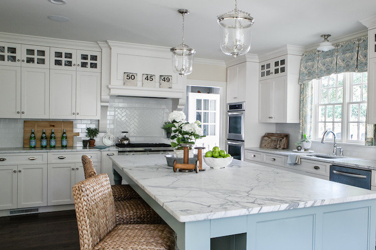 White and blue kitchen transitional kitchen sherry for Blue and white kitchen cabinets