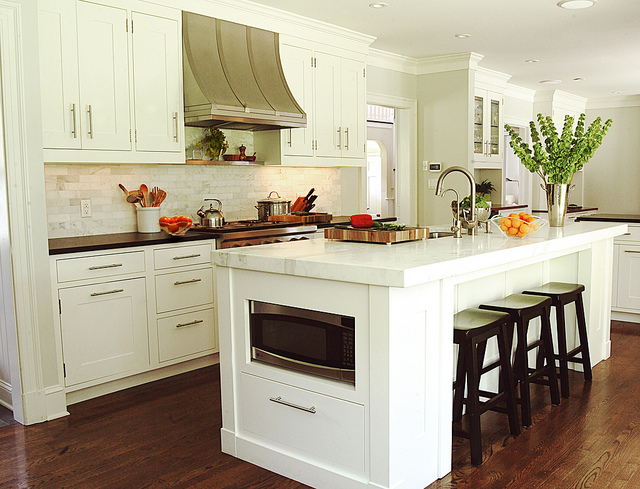 Island Microwave Transitional Kitchen Benjamin Moore