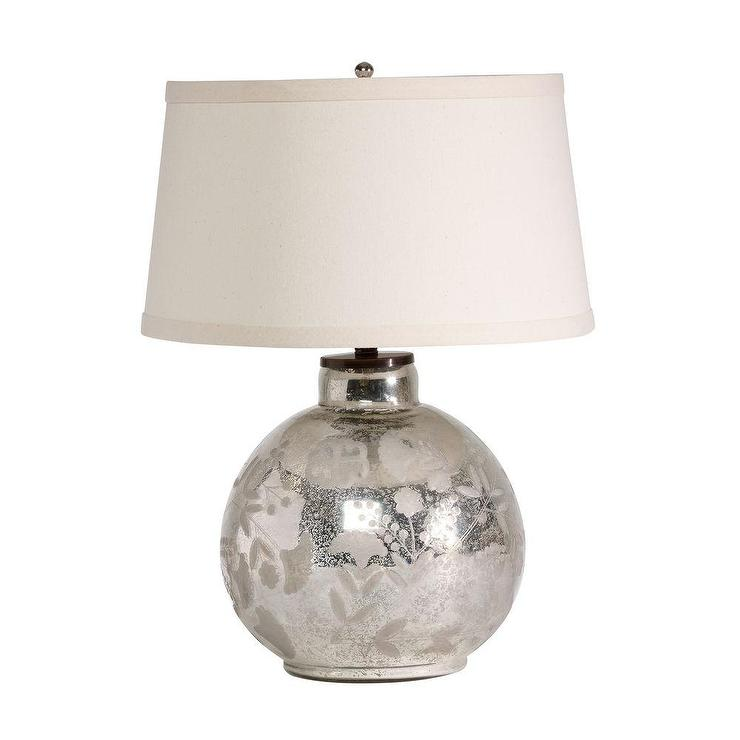 glass single lamp on brown base ball silver leaf medium